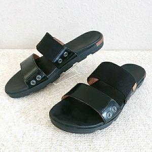 Sorel Torpeda II Black Leather Slides ~ 9